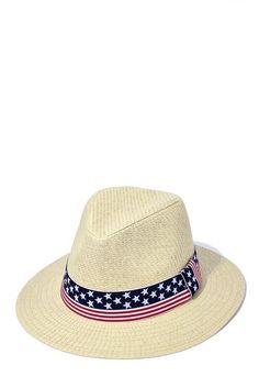 2235d599aaa6b0 D Y Panama Womens Straw Hat Stars And Stripes Ribbon Of July Patriotic