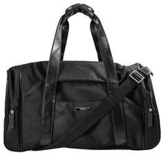 a6213d956577 GB1029855K Versace Nylon Black Carry All Duffle Bag Silver tone hardware  Genuine leather double handles w