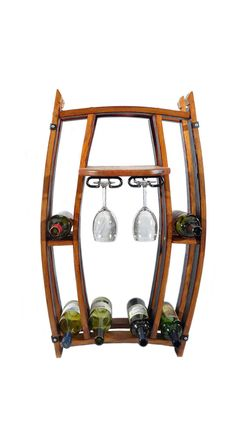 Hand crafted from repurposed oak wine barrels, this wine rack is a fun way to display your favorite wine bottles and glasses. And with six different colors, everyone's happy.