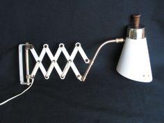 Vintage Mid Century Danish White Teak Scissor Extension Arm Wall Light + Bracket