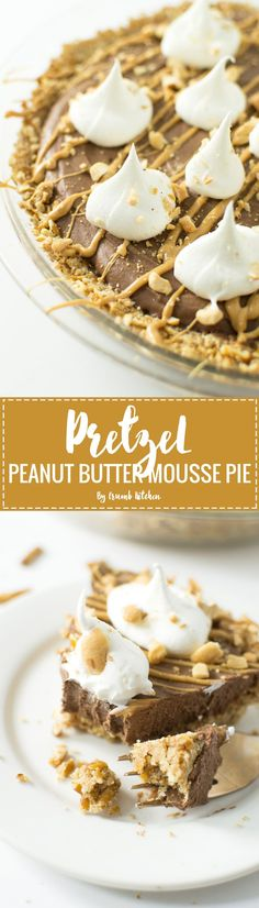 Pretzel crust topped with a vegan chocolate peanut butter mousse and dollops of whipped cream fill this Pretzel Peanut Butter Mousse Pie. | Crumb Kitchen
