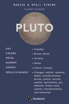 How to use the planetary energies of Pluto in your spells and magick. Choosing the right day to cast a spell does not need to be a long and involved process. Astrology Planets, Learn Astrology, Zodiac Signs Astrology, Zodiac Sign Facts, Jupiter Astrology, Astrology Meaning, Astrological Symbols, Sagittarius Quotes, Zodiac Taurus