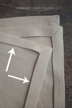 Mitered corners on linen napkins, great tutorial on cutting and sewing napkins in linen.