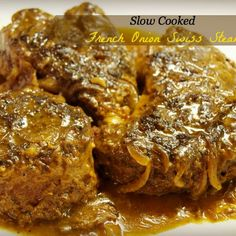 Want a change for the age-old Swiss Steak recipe? Try this creamier French onion soup inspired slow cooker Swiss Steak recipe. Crockpot Dishes, Crock Pot Slow Cooker, Crock Pot Cooking, Beef Dishes, Pressure Cooker Recipes, Slow Cooker Swiss Steak, Pressure Cooking, Crockpot Recipes, Cooking Recipes
