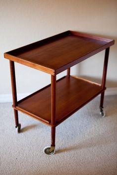 $215 Mod About Vintage: Mid Century Modern Danish Teak Serving Cart