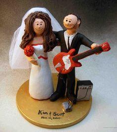 Rock Guitarist's Wedding Cake Topper, Guitar Wedding Cake Topper, Singing Bride…