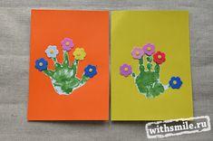 Рисунки из отпечатков рук: пауки, цветочки да солнце. Рисование ладошками для детей. Baby handprints craft: spiders, flowers and the sun.