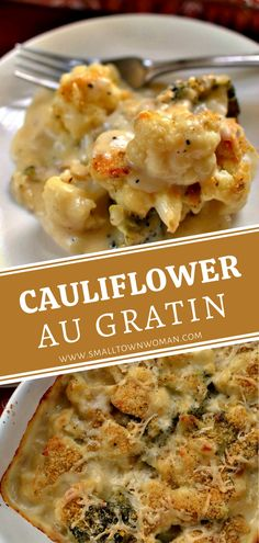 Cauliflower Au Gratin combines roasted broccoli and cauliflower in a creamy cheddar cheese sauce sprinkled with a super easy crumb topping. Side Dish Recipes, Vegetable Recipes, Vegetarian Recipes, Cooking Recipes, Healthy Recipes, Dinner Recipes, Ritz Crackers, Galletas Ritz, Cauliflower Recipes