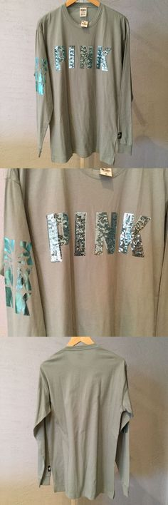 Women T Shirts: Victoria S Secret Pink Succulent Green Bling Long Sleeve Campis Tee Small Nwt -> BUY IT NOW ONLY: $38 on eBay!