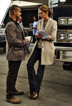 Jon Huertas and Stana Katic behind the scenes of Castle.