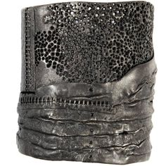 Gorgeous!! .....Oxidised silver cuff bracelet, six black diamonds Based in New York, Darcy Miro