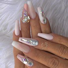 20 worth trying long stiletto nails designs ❤ nail art маникюр с миньонами, Glam Nails, Fancy Nails, Bling Nails, Matte Nails, Love Nails, Beauty Nails, My Nails, Acrylic Nails, Long Stiletto Nails