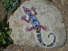 Red lizard on rock                #mosaic #art #animals