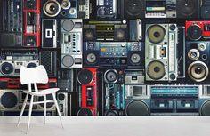 Old Radio Effect Wall Mural Wallpaper 25 – Jessartdecoration Self Adhesive Wallpaper, Peel And Stick Wallpaper, 3d Wallpaper, Wallpaper Ideas, Black And White Wall Art, Traditional Wallpaper, Textured Walls, Vintage Walls, Wall Prints