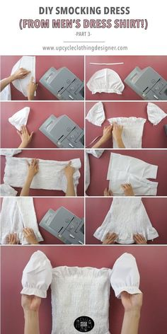 Upcycle men's button down shirt shirt into a diy smocking dress. This refashion tutorial features step-by-step photos, free smocking dress pattern and instructional video. Fashion Sewing, Diy Fashion, Origami Fashion, Fashion Details, Diy Dress, Dress Shirt, Diy Clothes Refashion, Refashion Dress, Diy Summer Clothes
