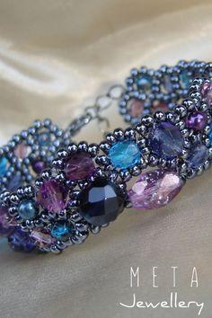 Purple - blue handmade beaded asymmetric bracelet with czech glass beads Beaded Jewelry, Beaded Bracelets, Czech Glass Beads, Purple, Blue, Handmade, Hand Made, Pearl Bracelets, Bead Jewelry