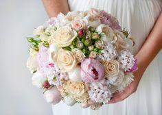 oud roze met pioen en trosroos