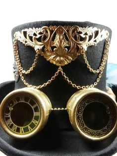 Steampunk Hat Black Top Hat with built in by DrBrassysSteampunk, $135.00