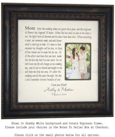 Wedding Picture Frame Mother of the Bride Gift, Parents Thank You Mom Dad Wedding Sign Dates Frame shower reception, 16 X 16