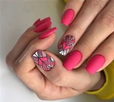Best Summer Matte Nails Designs You Must Try - Nail Art Connect Nail trends and colors change with the seasons.There are some new nail ideas out for people who like glossy or Cute Acrylic Nails, Matte Nails, Pink Nails, Stiletto Nails, Hair And Nails, My Nails, Nailart, Geometric Nail, Luxury Nails