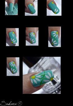 Flower Nail art tutorial / How to Nail Art At Home, Nail Art Diy, Cool Nail Art, Cute Nails, Pretty Nails, Nails Decoradas, Nailart, Daisy Nails, Flower Nail Art