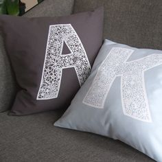 Love this idea. Love Monograms and Pillows.