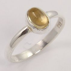Midi Knuckle 925 Sterling Silver Ring Size US 3.5 Natural LEMON QUARTZ Gemstone #Unbranded