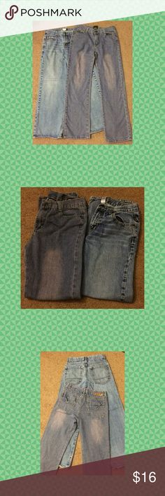Boys size 16 Buffalo jeans & Sz 14 Old Navy Very nice jeans with very little wear on both pairs.  Buffalo brand jeans are size 16--a little more narrow in the legs than the Old Navy, these jeans were only worn once and have a slight pinkish tint to the wash on the denim.  Very cute!  Old Navy jeans are size 14 regular and are in great condition.  One of the cuffs has a small hole in it.  See pics Buffalo David Bitton Bottoms Jeans
