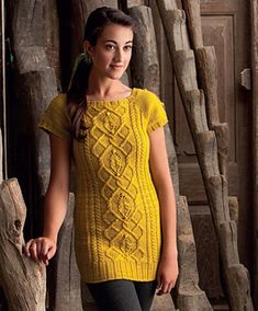 Cabled Tunic by Simona Merchant-Dest. malabrigo Worsted, Frank Ochre color.Published in The Art of Seamless Knitting by Simona Merchant-Dest and Faina Goberstein.