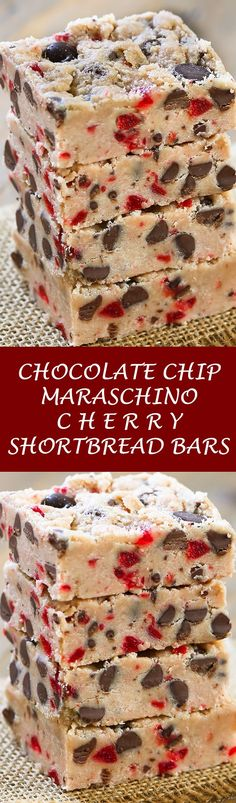 Chocolate Chip Maraschino Cherry Shortbread Bars - The ultimate shortbread cookie bars stuffed with dark chocolate chips and maraschino cherries.  You'll want this cherry chocolate chip bar recipe handy throughout the year! @splenda #ad #SplendaSweeties #SweetSwaps