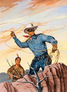 Hank Hartman The Lone Ranger Cover Painting Original Art (Dell, The Lone Ranger looks like he's - Available at 2016 August 4 - 6 Comics &. Westerns, Illustrations, Graphic Illustration, Original Art, Original Paintings, Western Comics, The Lone Ranger, West Art, Cowboy Art
