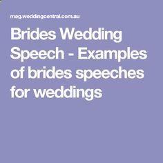 Brides Wedding Speech - Examples of brides speeches for weddings
