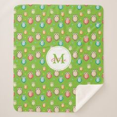Cute Owls Pattern Sherpa Blanket - monogram gifts unique design style monogrammed diy cyo customize