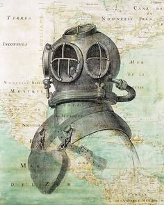 Scuba Diver Helmet Print on antique map of East by PrintLand