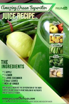 The Amazing Green Superstar.  This juice can make you rock out like a superstar because it is loaded with tons of nutrients and vitamins.. Try this juice today! #apple #lemon #cucumber #kale #ginger