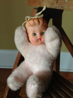 Vintage Doll Plush Hard Rubber Plastic Face Plush by StylishPiggy, $12.00