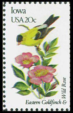 1982 Iowa State Stamp - State Bird Eastern Goldfinch - State Flower Wild Rose -