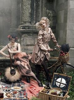 "Coco Rocha and Agyness Deyn in ""Paris, Je T'Aime"" by Steven Meisel for Vogue US Sept 2007"