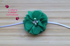 Green Headband Flower with Pearl Resin by CLulusLittleLovelies