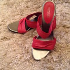 """Kenneth Cole Red Leather Double Strapped Sandals 3 1/2"""" heel very good condition. Worn only a few times. Leather straps Kenneth Cole Reaction Shoes Sandals"""