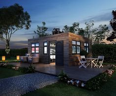 Modular tiny house for sale. The interior consists of recycled, sustainable, and organic materials and finishes and includes a full service bathroom.