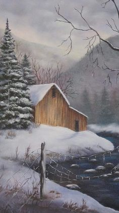 Barn Painting - Midwinter Storm by Terry Boulerice Watercolor Landscape, Landscape Paintings, Watercolor Art, Barn Paintings, Bob Ross Paintings, Simple Acrylic Paintings, Winter Painting, Christmas Paintings, Old Barns