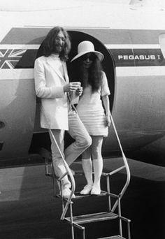 Yoko Ono & John Lennon on their wedding day, 1969