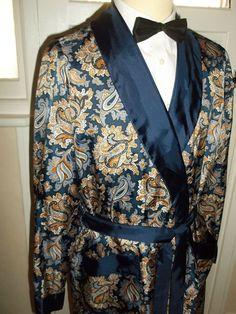 Vintage Mens St Michael 1960s Tricel Smoking Jacket Dressing Gown Robe M   £52.00 (11B)