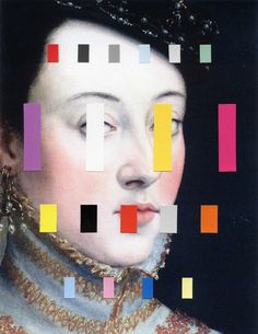 "Chad Wys ~ ""Portrait With A Spectrum 4"" (2014) collage on paper via artist's Tumblr"