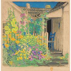 Love the colors in these prints..Gustave Baumann woodblock, Grandma Battin's Garden