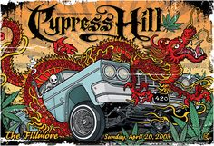Cypress Hill 420 Low Rider Skeleton Dragon Poster Etsy by gigart Cypress Hill, Arte Hip Hop, Hip Hop Art, Tour Posters, Band Posters, Music Posters, Lowrider, Hip Hop Classics, Blue Poster