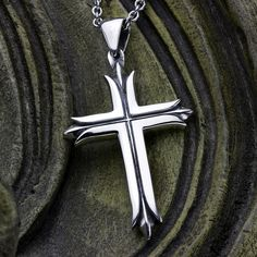 Sterling Silver Split Christian Cross by DavidDafferDesigns Cross Designs, Sterling Silver Cross, Box Chain, Cross Pendant, Two By Two, Pendants, Christian, Pendant Necklace, David