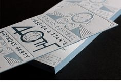 Invite | Letterpress and Metallic blue edging