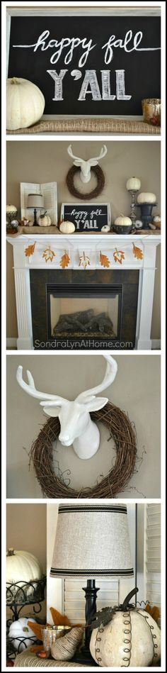 I used lots of white pumpkins, a deer head (paper mache), and a chalkboard tray to compose this year's Fall Mantel! - Sondra Lyn at Home.com